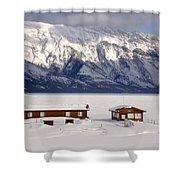 Lake Minnewanka, Alberta - Banff - Frozen Docks Shower Curtain