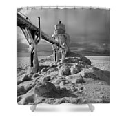 Frozen Grand Haven Lighthouse Black And White Shower Curtain