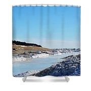 Frozen Lake Michigan Shower Curtain