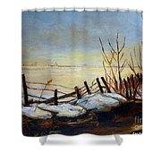 Frozen Lake Near Ste. Adele Shower Curtain