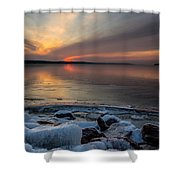 Frozen Lewis And Clark Lake Shower Curtain