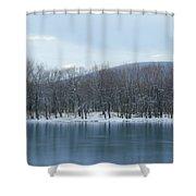 Frozen Mountain Lake Shower Curtain