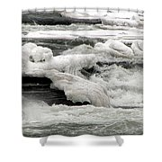 Frozen Niagara River Rapids Above Niagara Falls Shower Curtain