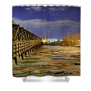 Frozen Pier Shower Curtain