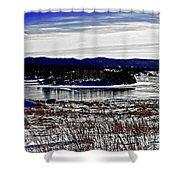 Frozen Pond Digital Painting Shower Curtain