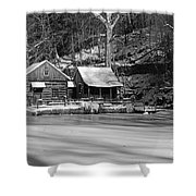 Frozen Pond In Black And White Shower Curtain
