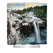 Frozen Snoqualmie Falls Shower Curtain