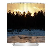 Frozen Sunset Shower Curtain
