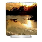 Frozen Sunset Shower Curtain