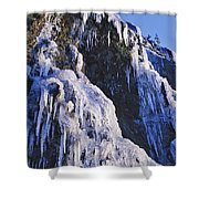 Frozen Waterfall On Oregon Central Coast Shower Curtain