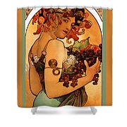 Fruit Shower Curtain by Alphonse Maria Mucha