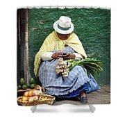 Fruit And Vegetable Vendor Cuenca Ecuador Shower Curtain