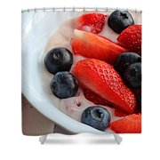 Fruit And Yogurt Snack 2 Shower Curtain by Barbara Griffin