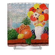 Fruit Flowers And Castle Shower Curtain