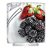 Fruit I - Strawberries - Blackberries Shower Curtain by Barbara Griffin
