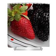 Fruit II - Strawberries - Blackberries Shower Curtain