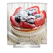 Fruit Tart With Spoon Shower Curtain