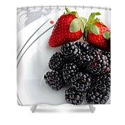 Fruit V - Strawberries - Blackberries Shower Curtain by Barbara Griffin