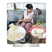 Fruit Vendor On Street Yangon Myanmar Shower Curtain