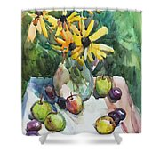 Fruits And Camomiles Shower Curtain