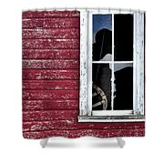 Ft Collins Barn Window 13568 Shower Curtain by Jerry Sodorff