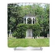 fu dog garden and Buddha Pavillion Shower Curtain