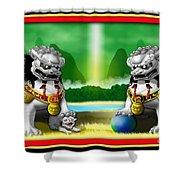 Fu Dog Guardians Shower Curtain