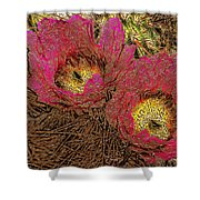 Fuchsia Cactus Flowers Gold Leaf Shower Curtain
