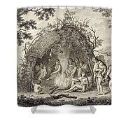 Fuegans In Their Hut, 18th Century Shower Curtain