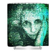 Fugue In Black And Cyan Shower Curtain