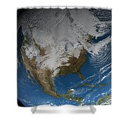 Ful Earth Showing Simulated Clouds Shower Curtain by Stocktrek Images