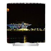 Full Blood Moon Over The St. Petersburg Pier Shower Curtain