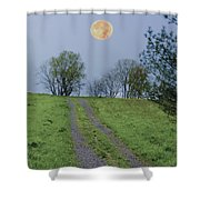 Full Moon And A Country Road Shower Curtain