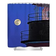 Full Moon And West Quoddy Head Lighthouse Beacon Shower Curtain