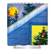 Full Moon At Christmas Shower Curtain