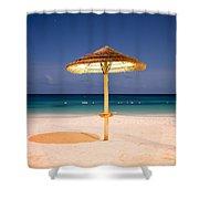 Full Moon Beach Hut Shower Curtain