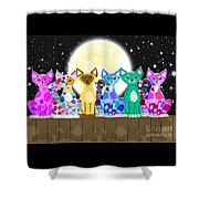 Full Moon Felines Shower Curtain