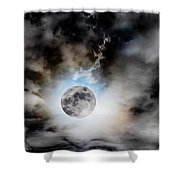 Full Moon  In Stormy Sky Shower Curtain