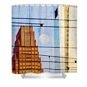 Full Moon In The City Shower Curtain