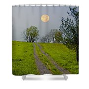 Full Moon On The Rise Shower Curtain
