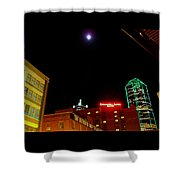 Full Moon Over Dallas Streets Shower Curtain