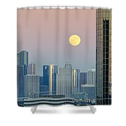Full Moon Over Downtown Houston Skyline Shower Curtain