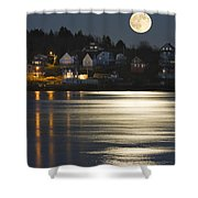 Full Moon Over Kennebec River Georgetown Island Maine Shower Curtain