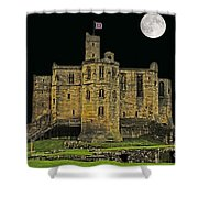 Full Moon Over Medieval Ruins Shower Curtain