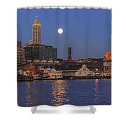 Full Moon Over Pioneer Square Shower Curtain