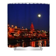 Full Moon Over Plaza Lights In Kansas City Shower Curtain