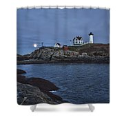 Full Moon Rise Over Nubble Shower Curtain