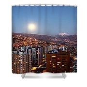 Full Moon Rising Over La Paz Shower Curtain