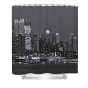 Full Moon Rising Over New York City IIi Shower Curtain by Clarence Holmes