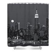 Full Moon Rising Over New York City Iv Shower Curtain